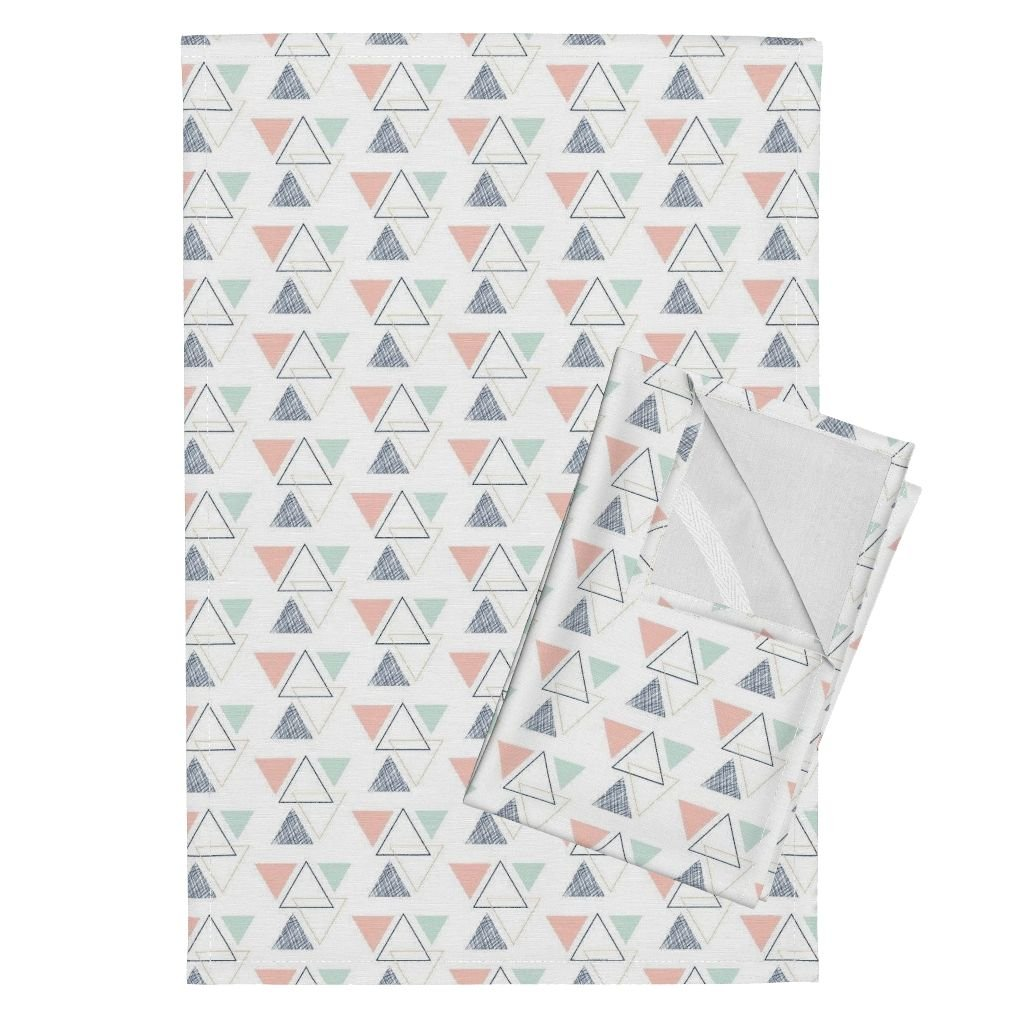 Roostery Triangles Triangle Geometric Geo Triangles Tea Towels Geo Triangles Briar Woods by Littlearrowdesign Set of 2 Linen Cotton Tea Towels