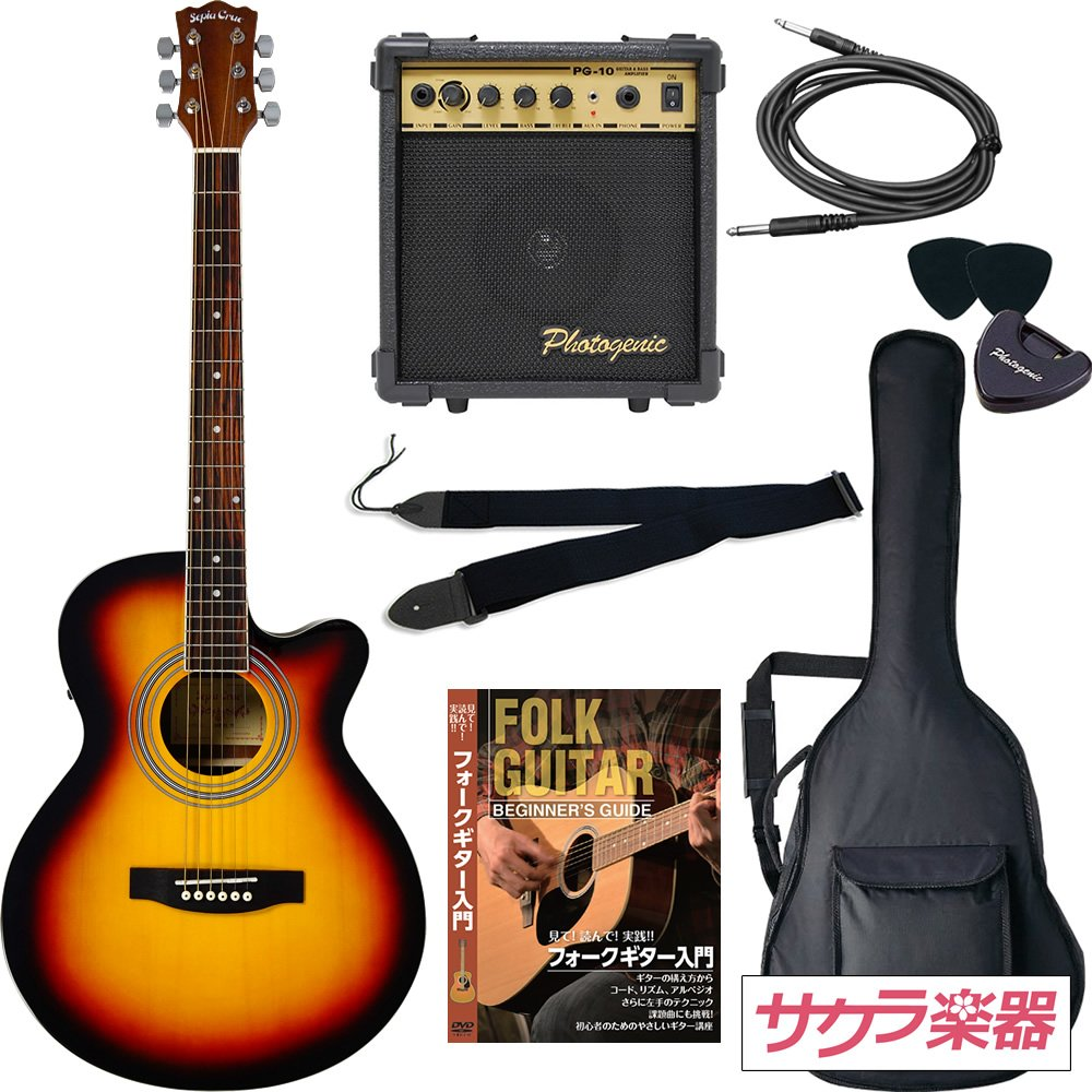 Sepia Crue セピアクルー アコースティックギター エレアコ EAW-01/VS サクラ楽器オリジナル 初心者入門リミテッドアンプセット  ビンテージSB B01G38GRW2