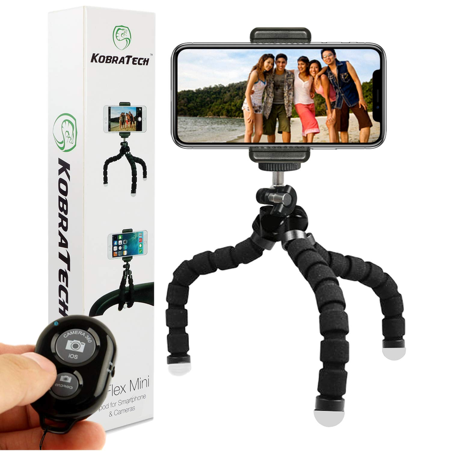 KobraTech Cell Phone Tripod TriFlex Mini Tripod for iPhone & Android Includes Bluetooth Remote Shutter by KobraTech