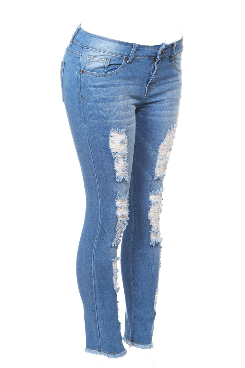 Cover Girl Women's Distressed Torn Plus Size Skinny Jeans Blue 18W