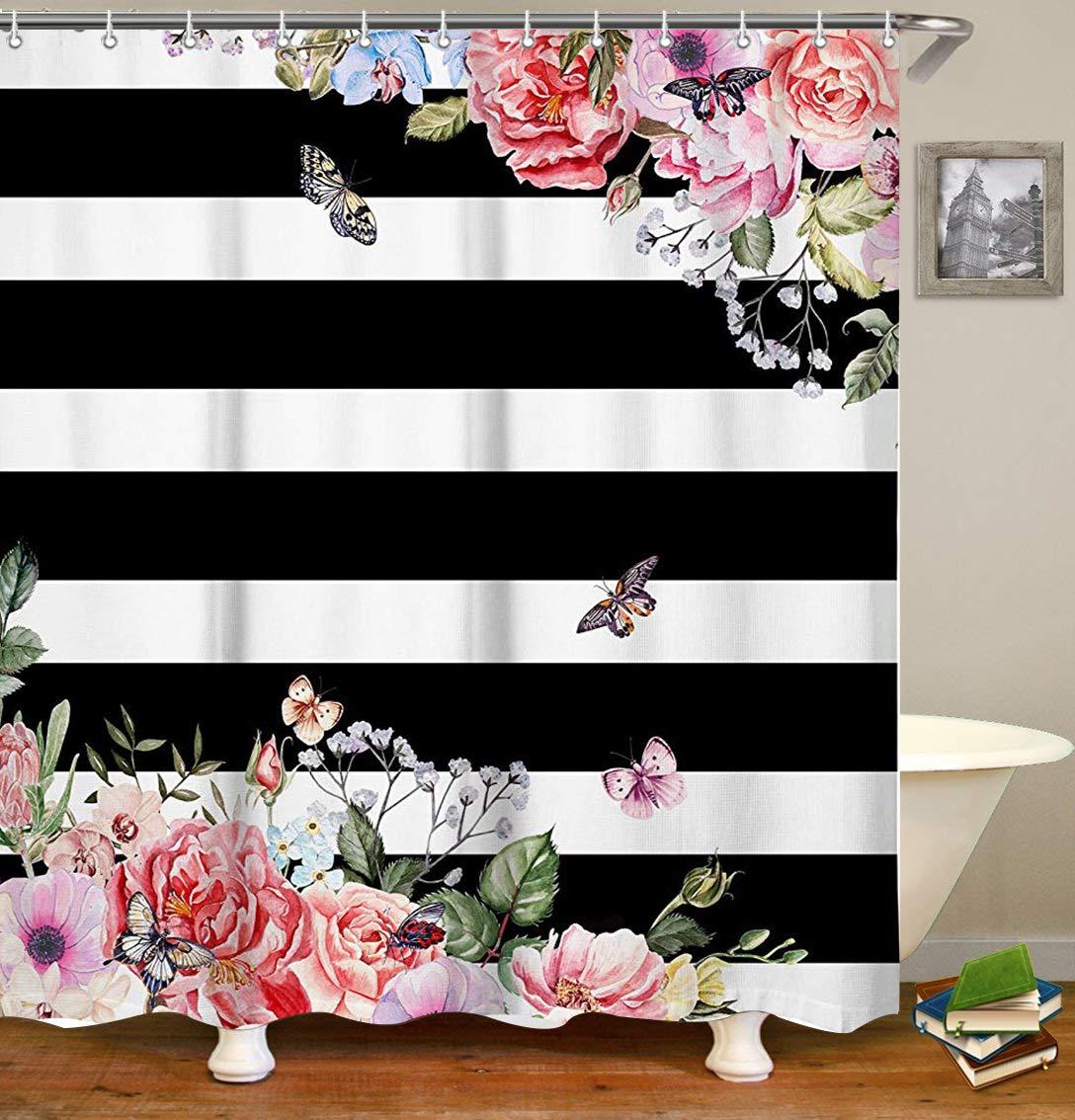 Livilan Waterproof Fabric Shower Curtain Set 70.8'' x 70.8'' Pink Flowers & Black White Stripes Pattern Decorative Thick Bathroom Curtain