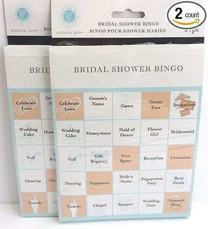 Amazon.com: Victoria Lynn Bridal Shower Party Games - Bingo Cards ...