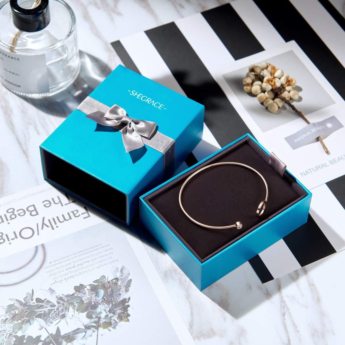 r/églable 190mm Platine//Or ros/é//Or Ornement Simple Cercle Anneau et Un AAA Zircon Rond SHEGRACE Bracelet ouvet Moderne Femme en Pur Argent 925 Sterling