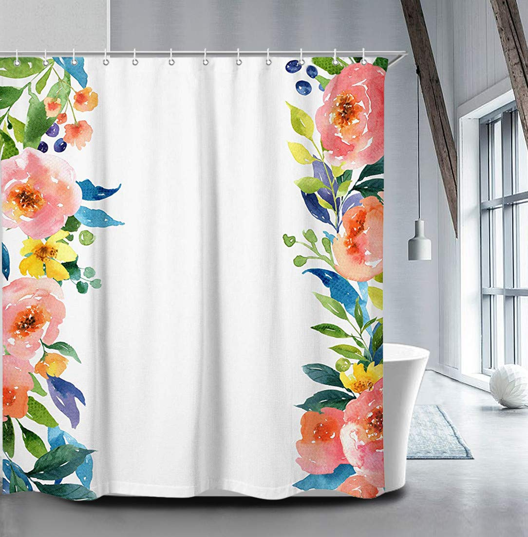 Livilan Peony Floral Shower Curtain Set 70.8