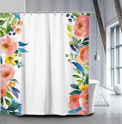 Amazon Livilan Peony Floral Shower Curtain Set 708 X