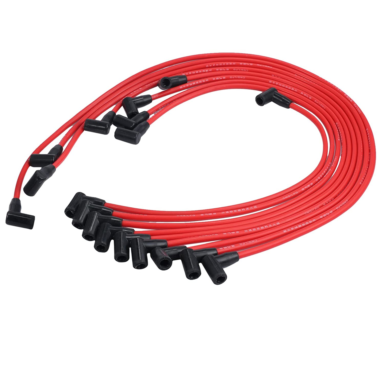 9867M SBC Small Block Chevy 305 350 400 Red Spark Plug Wires HEI 90* Under H