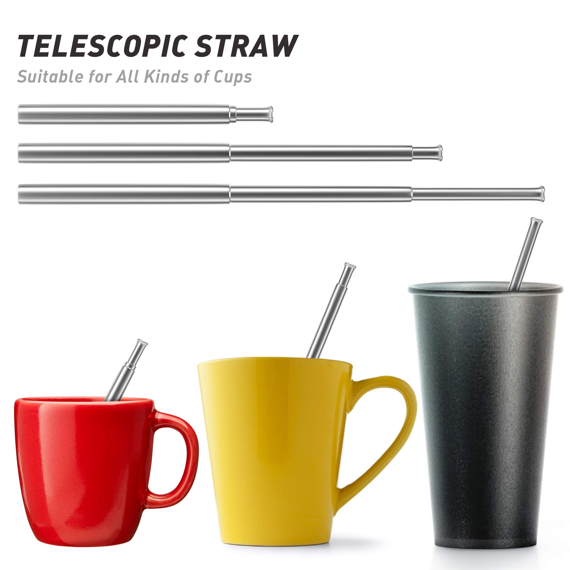 Reusable Straws - 2 Pack Telescopic Reusable Straws Stainless Steel Metal Drinking Straw (P-Black/Silver)