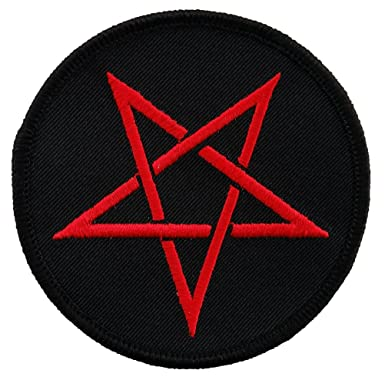 Red Pentagram Star Embroidered Patch Iron On Evil Pentacle Wicca
