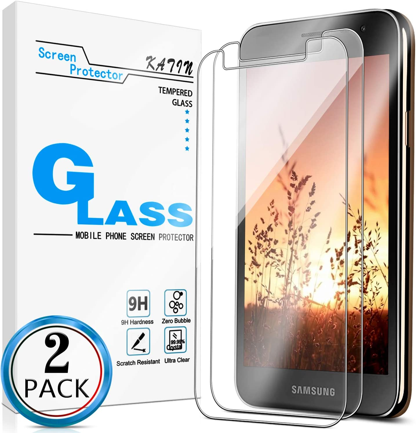 KATIN Galaxy J2 Core Screen Protector - [2-Pack] for Samsung Galaxy J2 Core/ J2 2019/ J2 Pure/ J2 Dash/ J2 Shine Tempered Glass No-Bubble, 9H Hardness, Easy to Install