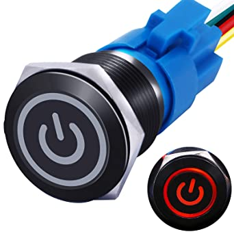 mxuteuk 19mm Latching Push Button Switch 1 NO 1 NC SPDT ON/Off Black Metal Shell with 12v Red Power Symbol Light with Wire Socket Plug Suitable for 3/4