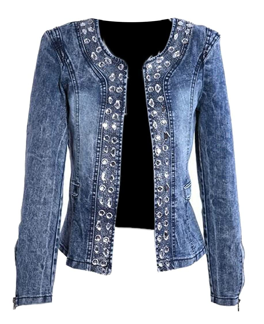 Hokny TD Women's Retro Rhinestone Sequins Open Front Short Denim Jacket
