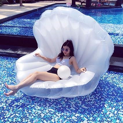 Selm Cama Flotante Pearl Shell Silla de Salón Tumbonas Juguete de Agua Cojín Inflable Piscina Al Aire Libre Juguete para Niños Y Adultos - Enviar Bomba Electrica: Amazon.es: Belleza