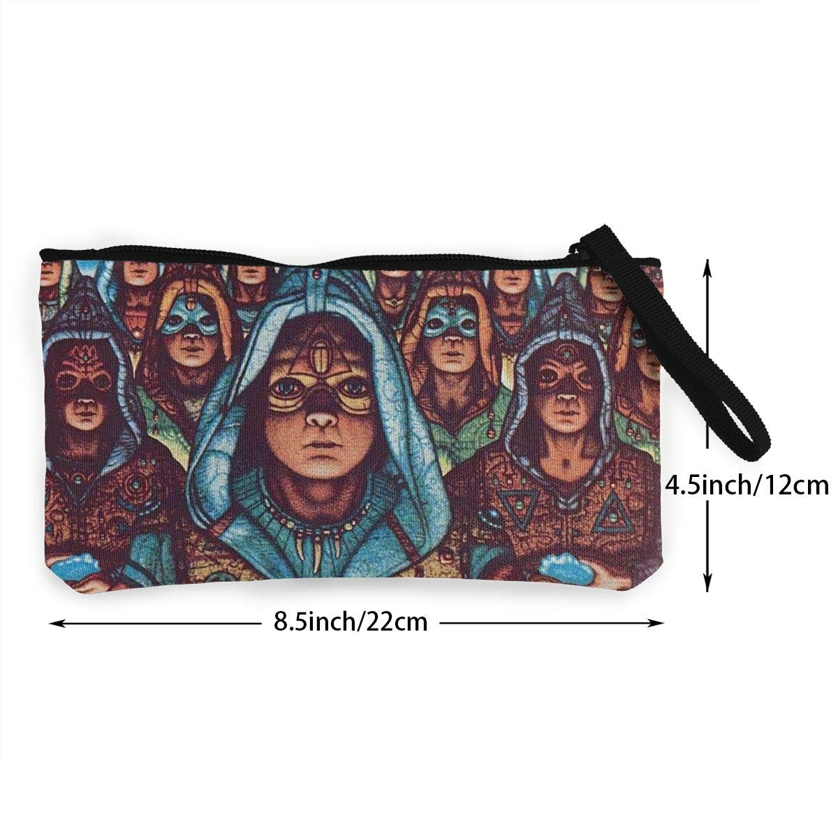 Thomas C Gaona Blue Oyster Cult Ladies Casual Coin Purse Zipper Pouch Wallet Canvas Clutch Wristlet Cellphone Bag with Handle for