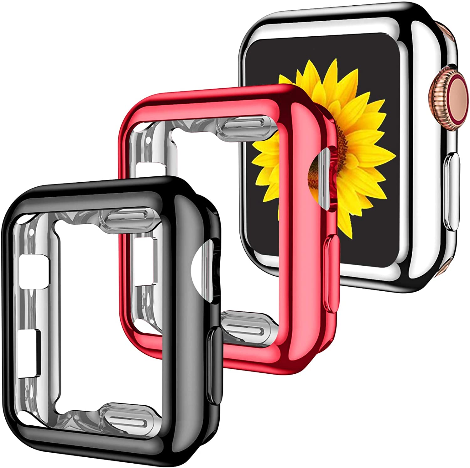 GEAK 3 Pack Compatible with Apple Watch Case 42mm, Full Protective Screen Protector Case HD Ultra-Thin Cover Compatible with iWatch Series 3/2/1 Bumper Case 42mm Black/Red/Silver