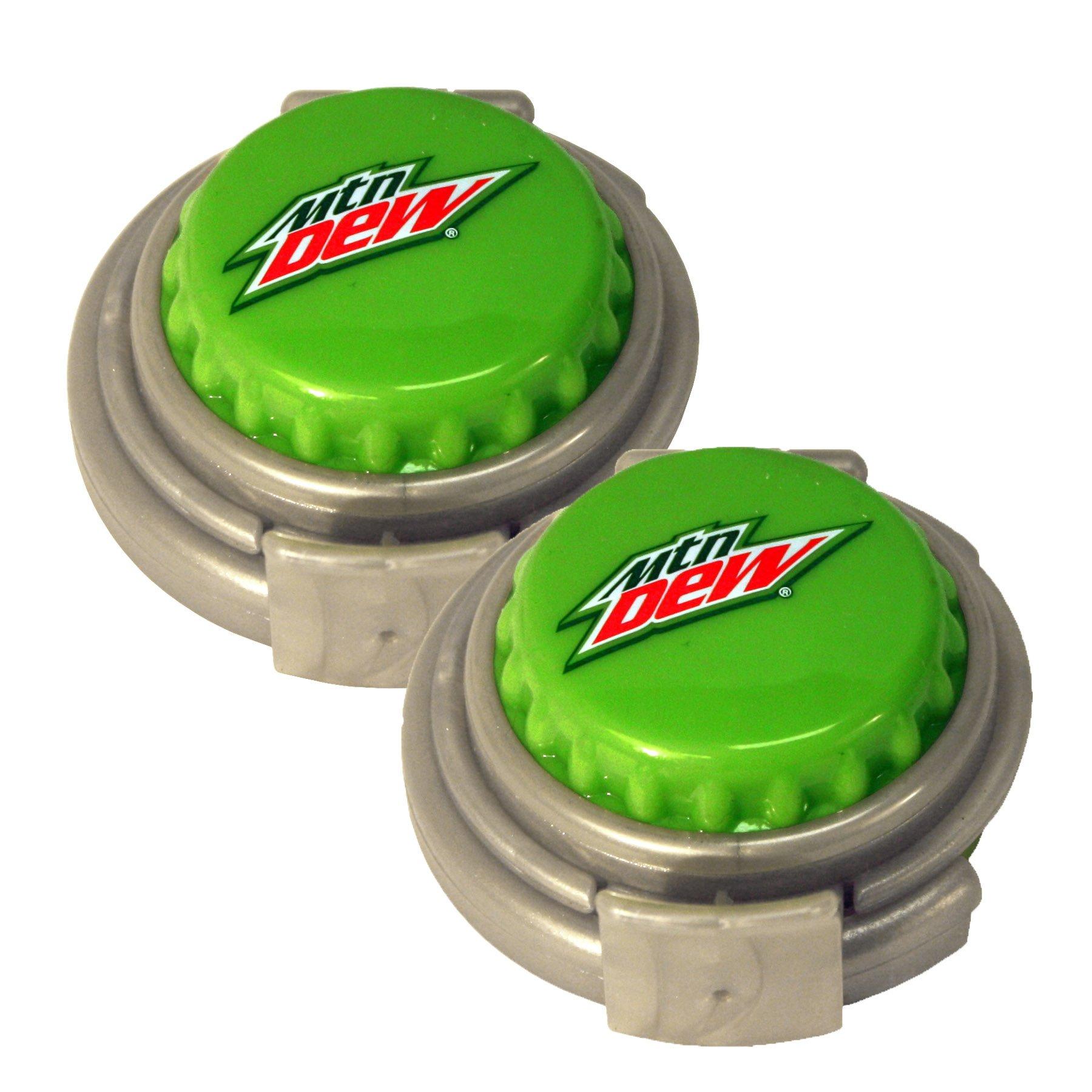 Jokari 2 Count Mtn Dew Modern Logo Soda Can Pump and Pour Caps, Green