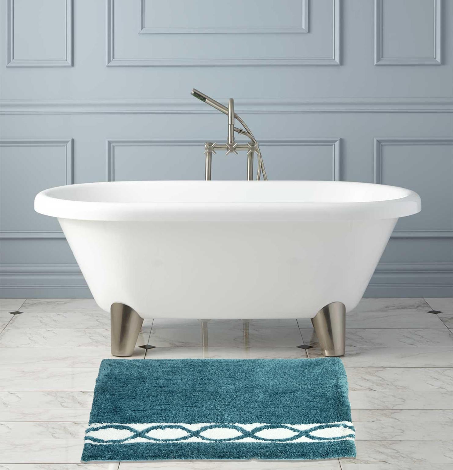 WARISI - Wave Collection - microfiber Area, Bedroom Bathroom Rug, 34 x 21 inches (Aqua Blue White)