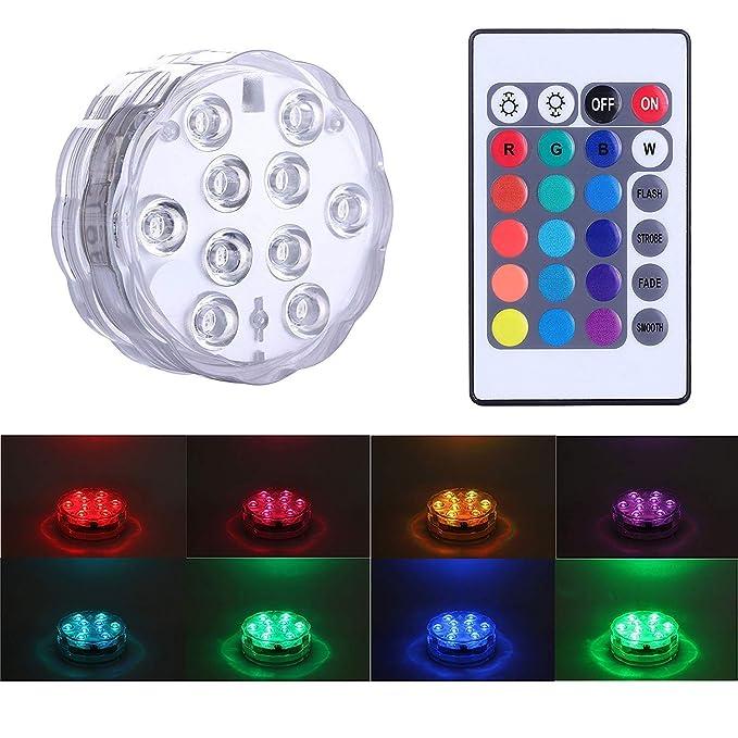 Luz sumergible del LED con teledirigido, luz multicolora de Alilimall impermeable Iluminación de estanques y piscinas para la base del florero, floral, ...