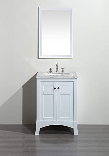 Eviva EVVN514-24WH New York White Bathroom Vanity, with White Marble Carrera Counter-Top Sink, 24 H
