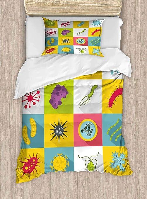 PRUNUSHOME Juego de sábanas Finas de Microfibra Poliéster y Virus bacterias, Virus y aislados, poliéster, Color02, Matrimonio: Amazon.es: Hogar