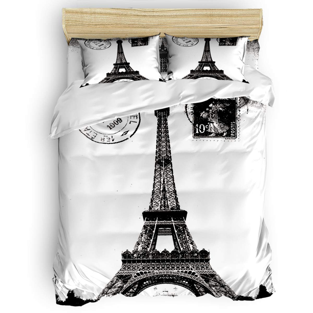 CHARMHOME Girls Bedding Duvet Cover 4 Piece Set - Retro Stamps of Paris Eiffel Tower Lightweight and Soft Bedding Collection - 1 Flat Sheet 1 Duvet Cover 2 Pillow Cases - Queen