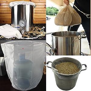 UP100 2PCS Reusable Durable Food Grade Nylon Beer Homebrew 100 Mesh Bag for Nut Hops Brewing Food Filtration Homebrew Wine Beer Making Bar Tool (Diameter 50cm Height 55cm)