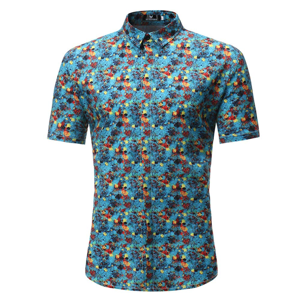 Fashion Mens Short Sleeve Shirts Musical Instruments Printed Casual Floral Men Shirts Hawaiian Mens Top S117 Asia Size 2XL