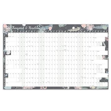 Calendario anual 2019 de Boxclever Press. Calendario de pared, planificador anual. Calendario 2019 para el Hogar o la Oficina. Formato Anual Lineal. ...