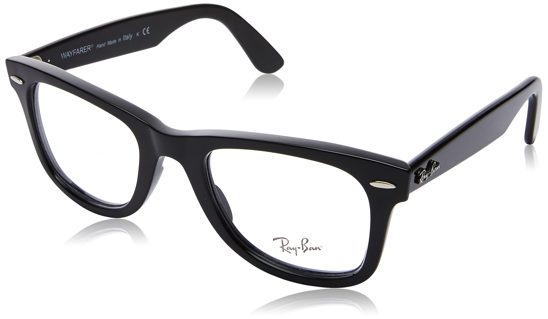 RAY-BAN RX4340V Wayfarer Eyeglass Frames, Shiny Black/Demo Lens, 50 mm by Ray-Ban