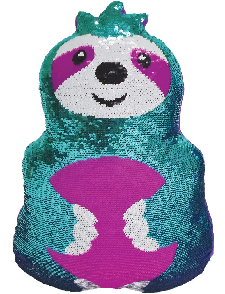 iscream Friendly Sloth 16'' x 11'' Reversible Sequin Soft Fleece Back Pillow by iscream