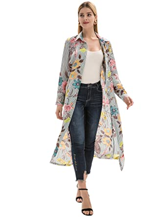77865a305 Women's Floral Kimono Cardigan Long Blouse Sheer Shirt Loose Tops ...