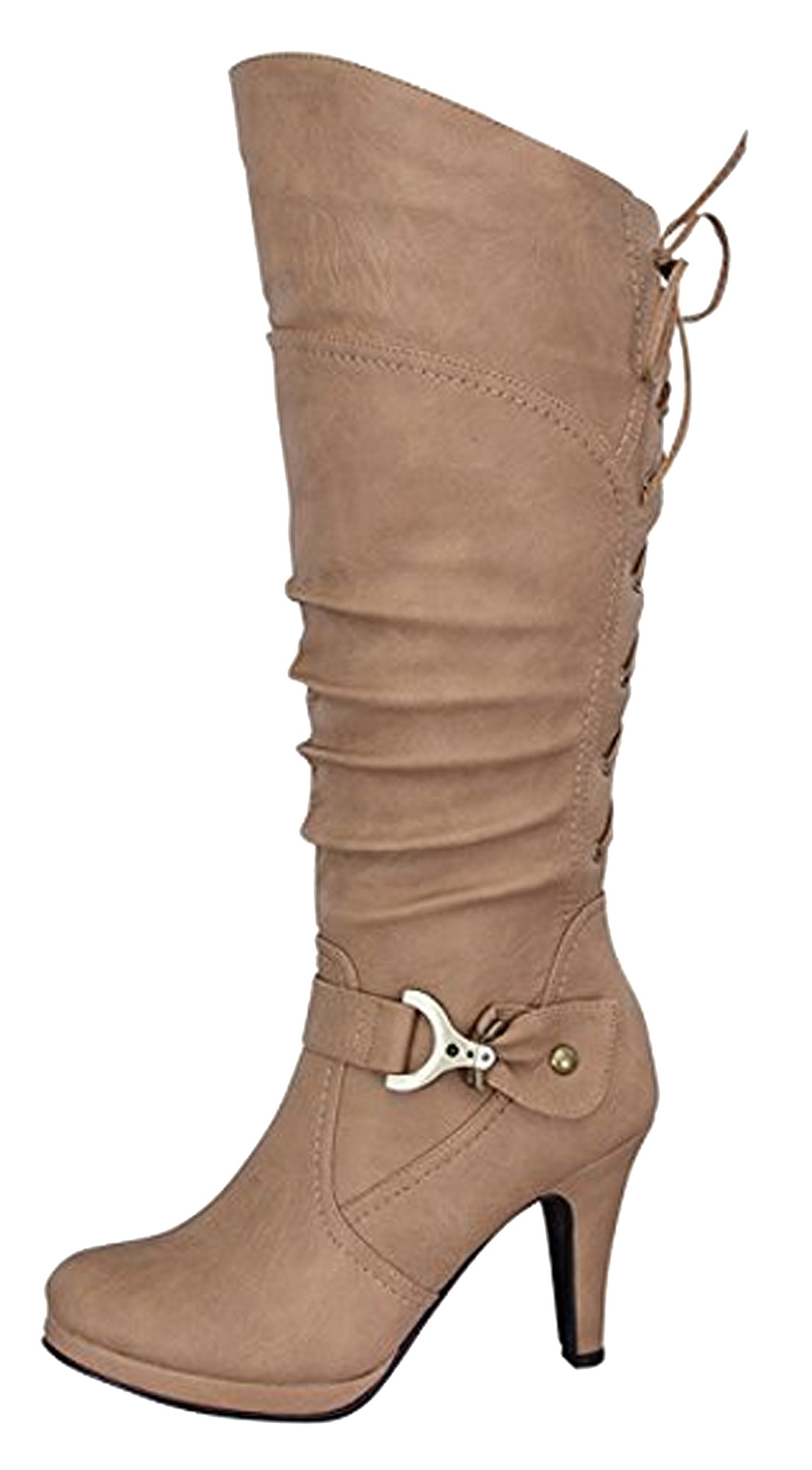 Top Moda Womens Page-65 Knee High Round Toe Lace-Up Slouched High Heel Boots,Taupe,8