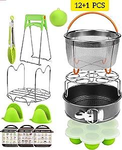 Pressure Cooker Accessories Set for 6, 8Qt-Instant pot Steamer Basket, Non-stick Springform Pan, Egg Bites Mold, Egg Rack, Steamer Trivet, Kitchen Tongs, scrubber 3 Cheat sheet/12+1 Pcs InstaPot kit
