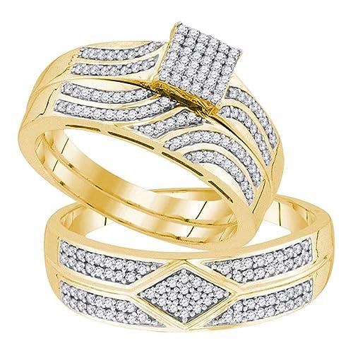Juego de anillos de boda de oro amarillo de 10 quilates con diamantes redondos cuadrados a
