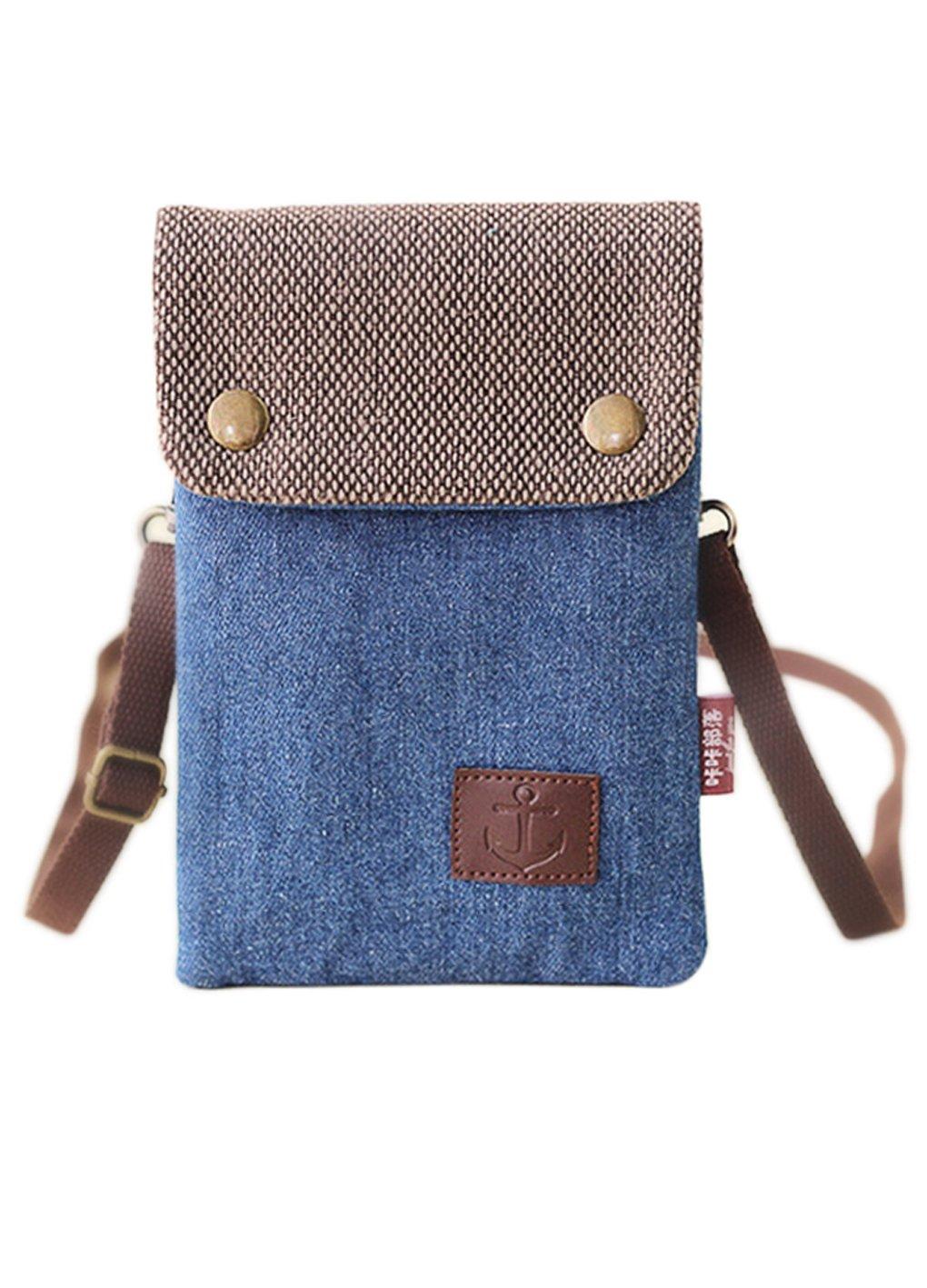 4d02ae5454 Cell Phone Holder Mini Crossbody Crossbody Purse Shoulder Bag Smartphone  Wristlet Wallet Women s Girl s Cotton Canvas Bag Purse for Keys