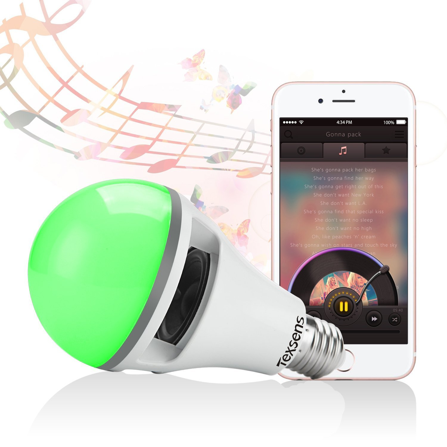 Texsens Smartphone App Controlled Music Bulb,10W E27 Smart LED Light Bulb with Bluetooth Speaker