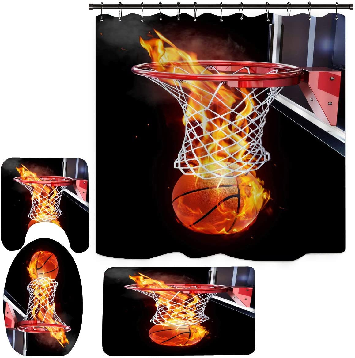 Basketball Shower Curtain, Basketball Bathroom Set with Non-Slip Toilet Rugs and Bath Mats, Kids Bathroom Decor Sets with 12 Hooks (H8)