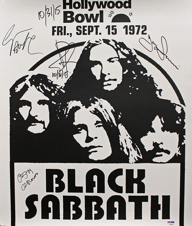 Black Sabbath (4) Ozzy Osbourne Signed 18x20.75 1972 Concert Poster #AB03324 - PSA/DNA Certified - Music Posters