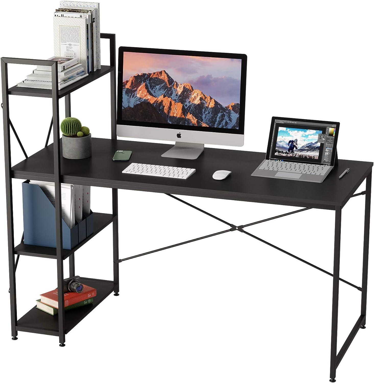 Bestier 55 Inch Computer Desk with Shelves, Modern Writing Desk with Bookshelf PC Desk with Reversible Storage Shelves, Study Corner Desk Table for Home Office Easy Assemble (Black, 55 Inch)