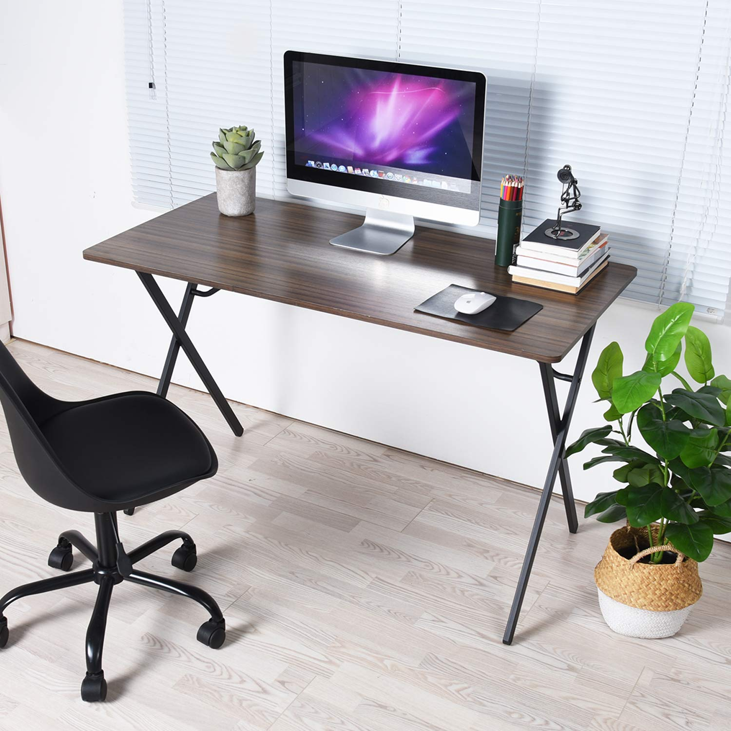 GreenForest Computer Writing Desk 47'' Modern Simple Home Office PC Laptop Table Workstation, Walnut