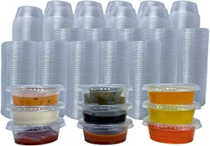 Reli. Condiment Cups with Lids, 1.5 oz (500 Sets, Bulk) Jello Shot Cups/Plastic Disposable Portion Cups (1 oz - 1.5 oz Capacity) Portion/Souffle Cups 1 oz for Condiments, Bulk
