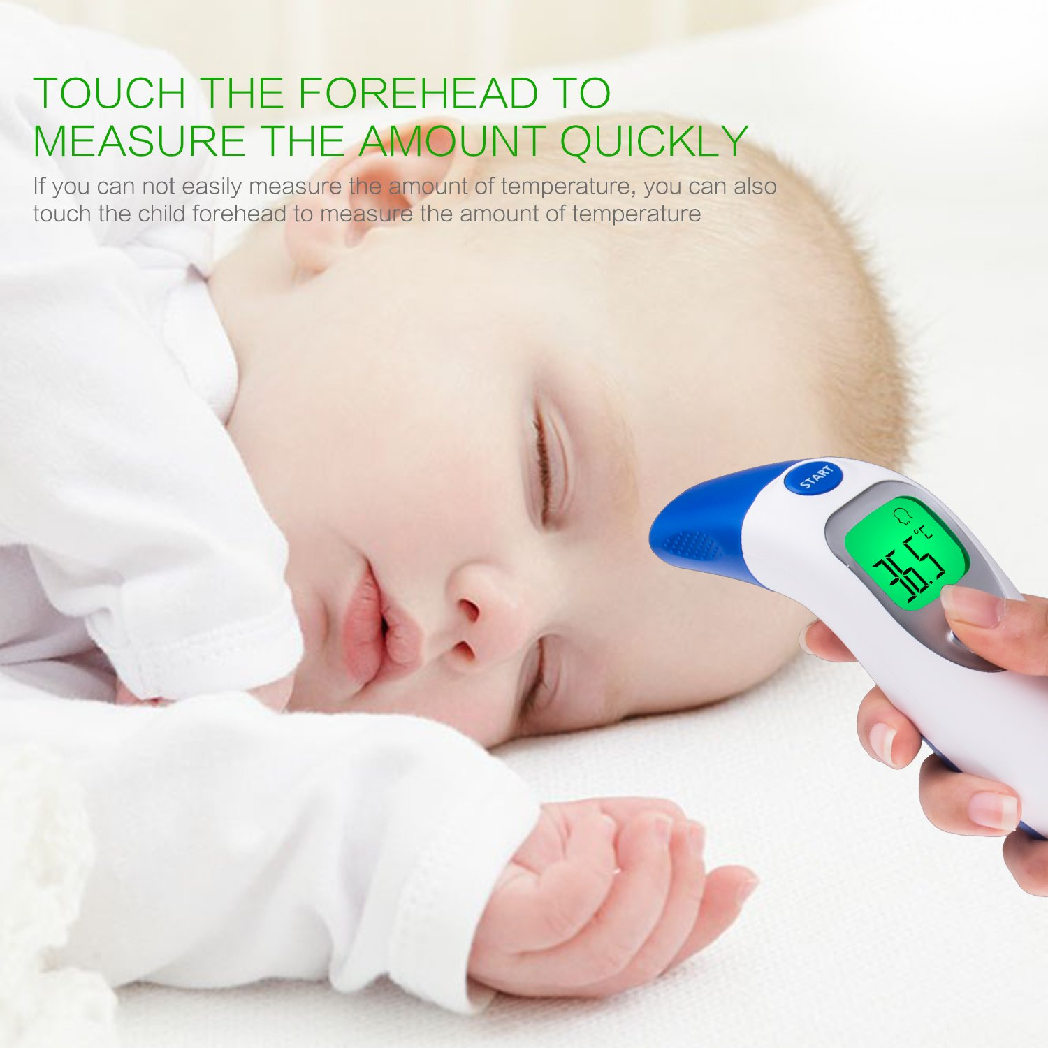 Toddlers and Adults with Instant Results highly accurate; Suitable for Baby Digital Infrared Thermometer for Forehead and Ear