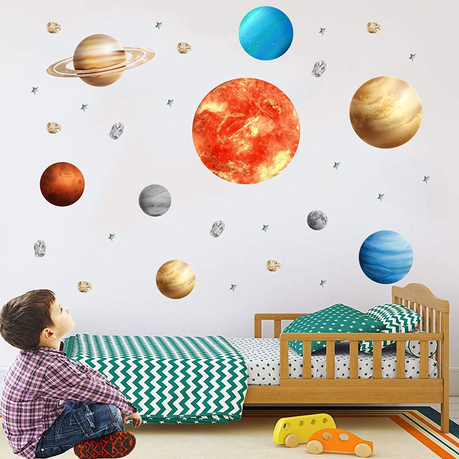 Kids Furniture Decor Storage Nine Planet Wall Stickers Outer Space Galaxy Window Decals Decorations Universe Star Murals Art Decorative Sticker For Home Living Room Bedroom Nursery Diy Holiday Party