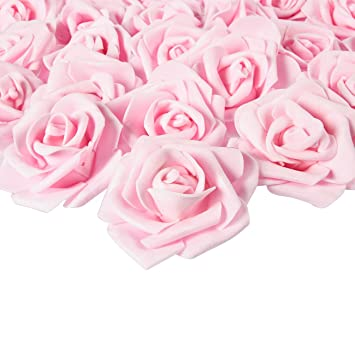 Juvale Rose Flower Heads 100 Pack Artificial Roses Perfect Wedding Decorations Baby Showers Crafts Light Pink 3 X 1 25 X 3 Inches