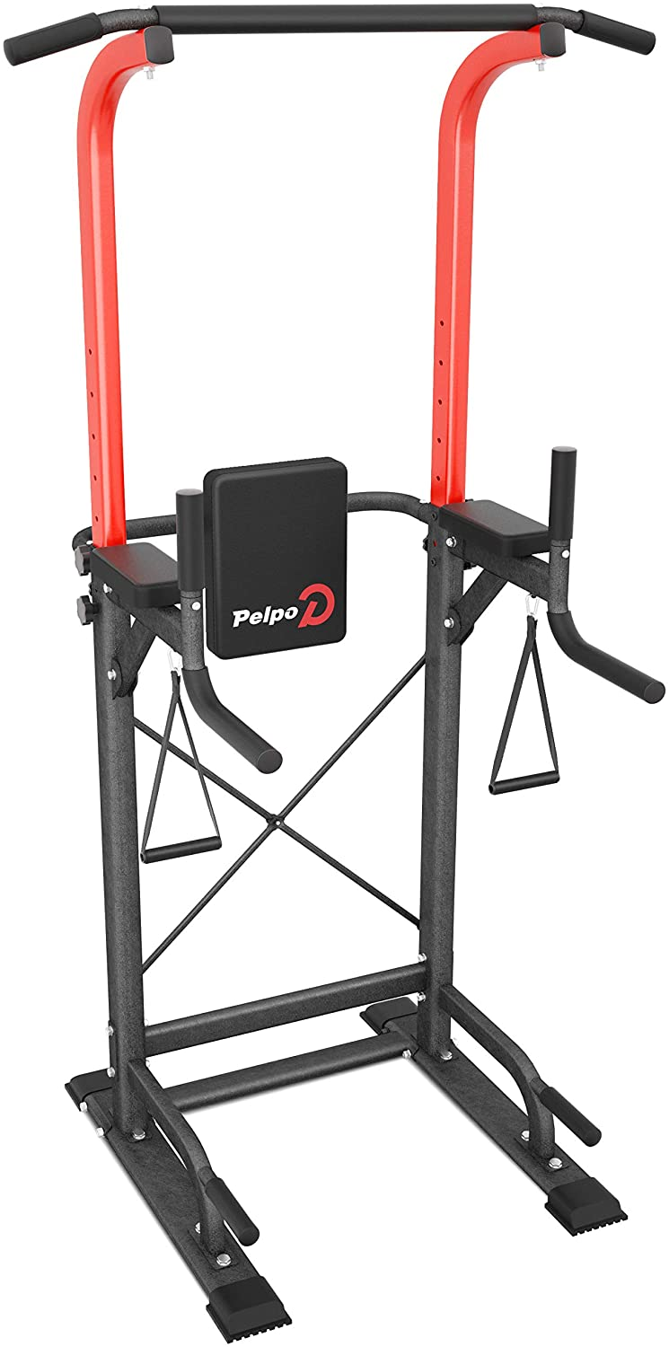 pelpo Power Tower Height Adjustable Pull Up Bar Station for Home Gym Strength Training, Multi-Function Dip Station Fitness Exercise Equipment
