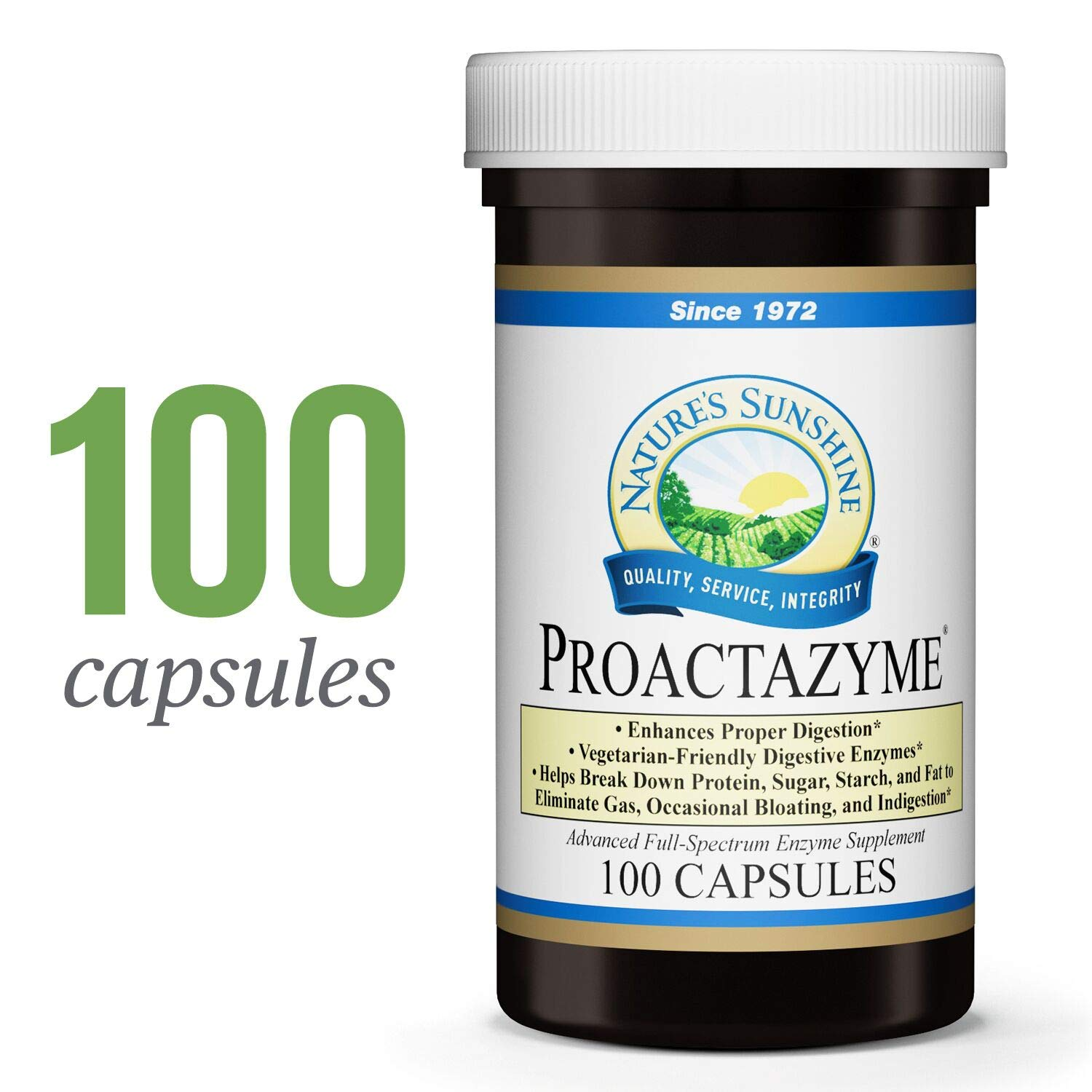Nature s Sunshine Proactazyme, 100 Capsules Full Spectrum Digestive Enzymes Supplement to Aid The Digestion of Fat, Protein, and Carbs