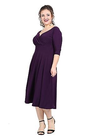 Damen Wickelkleid in Übergröße - Abendkleid Plus Size im Wickelstyle ...