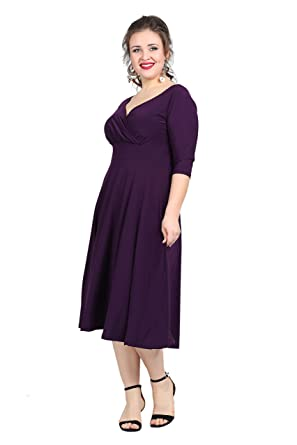Damen Kleid Abendkleid MIDI Wickelkleid Wickelstyle Cocktailkleid A ...