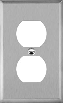 Enerlites Duplex Receptacle Metal Wall Plate Stainless Steel Outlet Cover Corrosion Resistant Size 1 Gang 4 50 X 2 76 Ul Listed 7721 430 Silver Standard Home Improvement