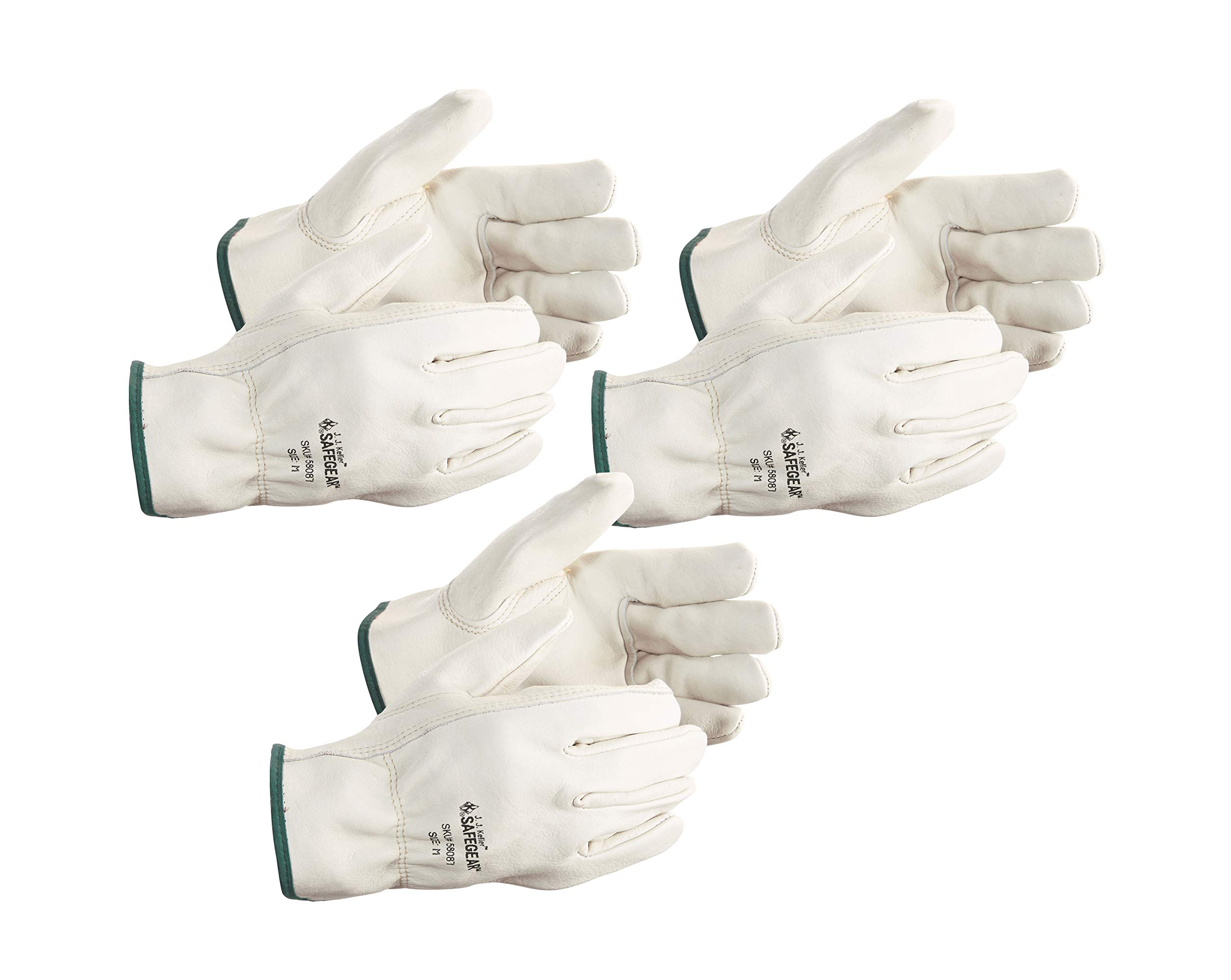 Vgo 3Pairs Unlined Mens Pigskin Leather Work Gloves Drivers Gloves Size XL,Light Cyan,PA9501