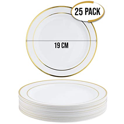 25 Elegante Premium Platos Desechables con Borde Dorado, 19cm - Durable Platos de Plástico Reutilizables